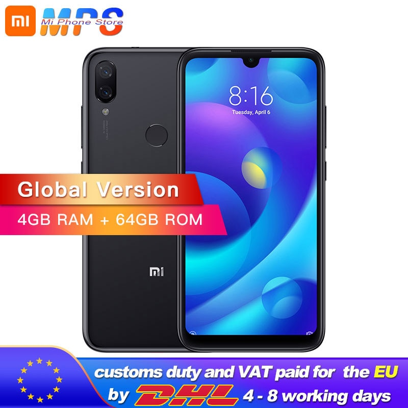 "Global Version Xiaomi Mi Play 4GB 64GB Telephone MTK Helio P35 Octa Core Dual 12MP+2MP AI Camera 5.84"" 19:9 Smartphone"