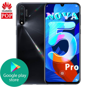 Original Huawei Nova 5 pro 8GB 128GB Mobile Phone Octa Core 6.39'' OLED Android 9.0 3500mAh in-screen Fingerprint Google play