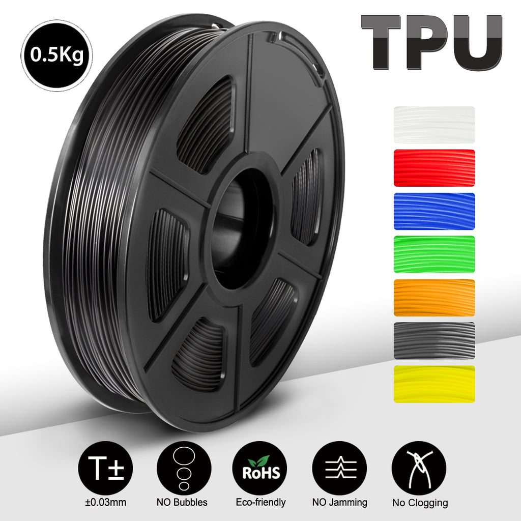 SUNLU 3D Printing Filament Black Flexible TPU Filament 1.75mm 0.5kg(1.1LB) Dimensional Accuracy +/- 0.02 MM Shore 95A