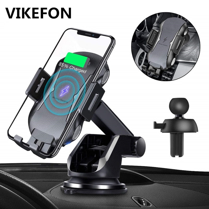 10W Qi Car Wireless Charger For iPhone 11 Pro XS Air Vent Mobile Phone Holder Infrared Fast Charging Auto Clamping Car-Charger