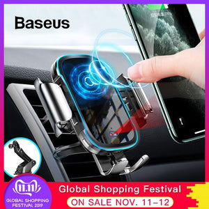 Baseus Wireless Car Charger For iPhone Xs Max Xr X 8Plus Light Electric 2 in 1 Wireless Charger 15W Car Holder For Huawei P30Pro