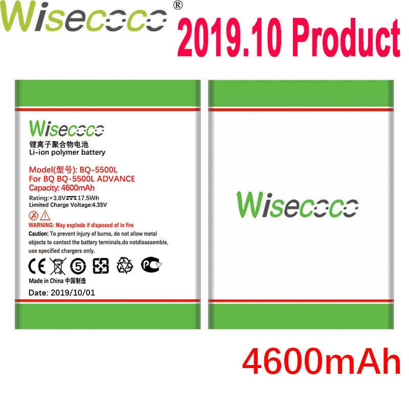 WISECOCO 4600mAh Battery For BQ BQ-5500L BQS-5500L ADVANCE Mobile Phone In Stock Latest Production Battery With Tracking Number
