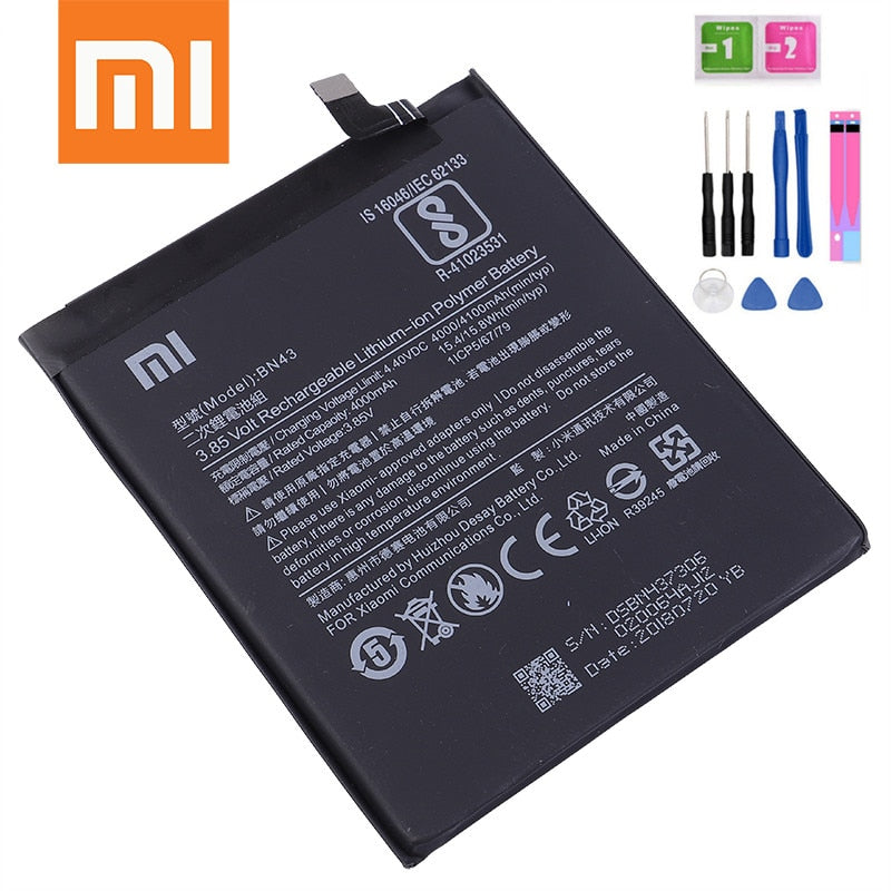 Xiaomi Phone Battery BN43 4000mAh for Xiaomi Redmi Note 4X / Note 4 global Snapdragon 625 Original Replacement Battery Free Tool