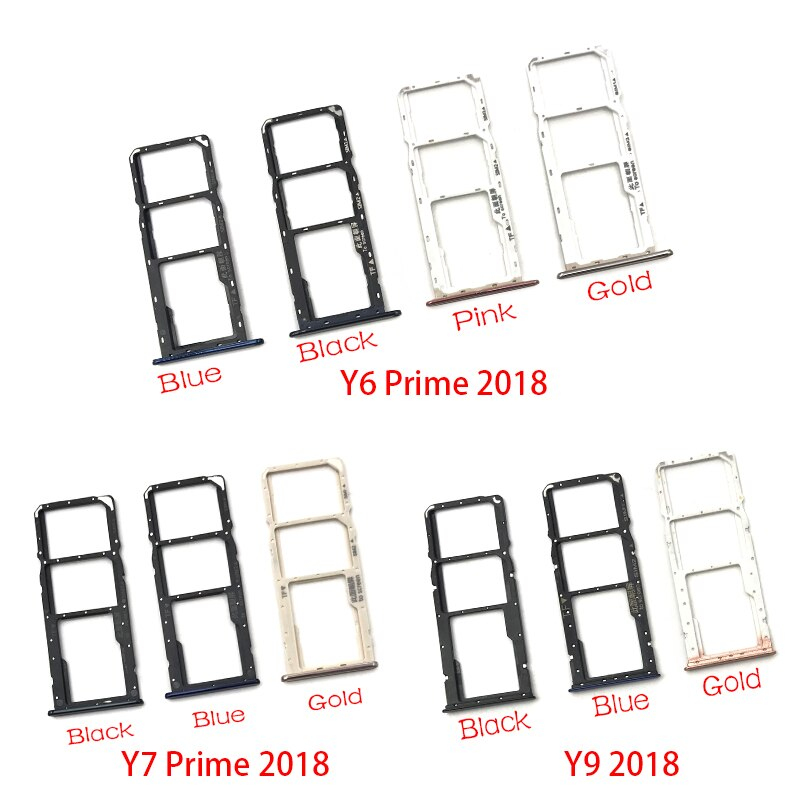 New SIM Tray For Huawei Y6 Y7 Prime Y9 2018 Micro Nano SIM Card Holder Tray Slot Holder Adapter Socket