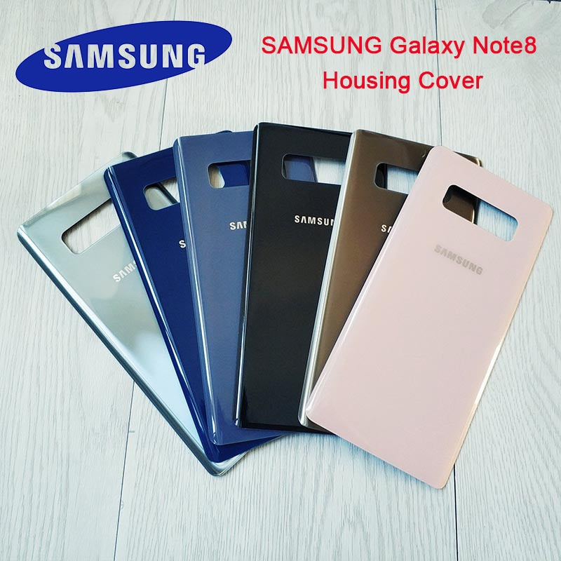 Original Samsung Galaxy Note 8 Cover N950 N950F Back Battery Case 3D Glass Housing Cover For Samsung Note8 +Adhesive Sticker