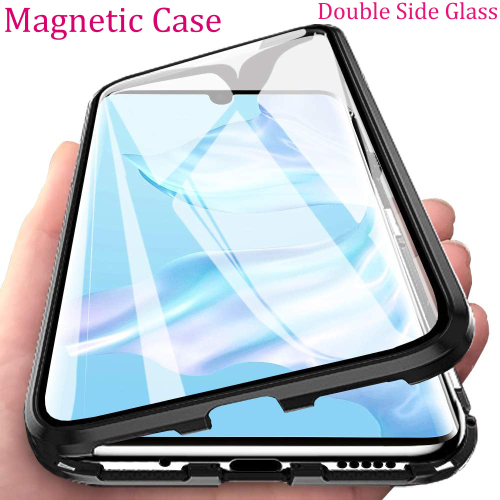 Double Side Glass Magnetic Metal Case For Huawei P30 P20 Pro Lite Phone Case For Huawei Mate 30 20 Pro Lite Nova 4e Phone Case