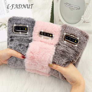 L-FADNUT Plush Fur Bracelet Fluffy Phone Case For Samsung Galaxy Note8 Note9 S10e S7 edge S9 Plus S9 S8 Bumper Diamond Cover