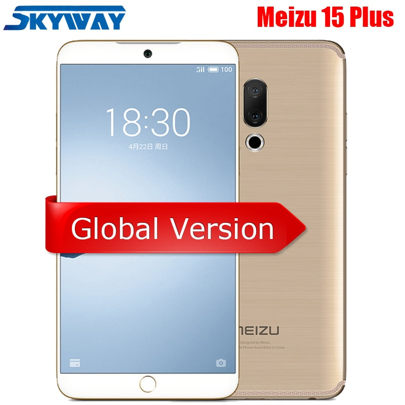"Official Global Version Meizu 15 Plus 4G LTE 6G 64G 128G Exynos 8895 Octa Core 5.95"" 1440P Fingerprint Fast charger Cell Phone"