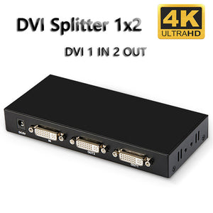 DVI Splitter 1X2 DVI-D Distributor 1 in 2 Out for Engineering Projector Monitor Computer Graphic Card