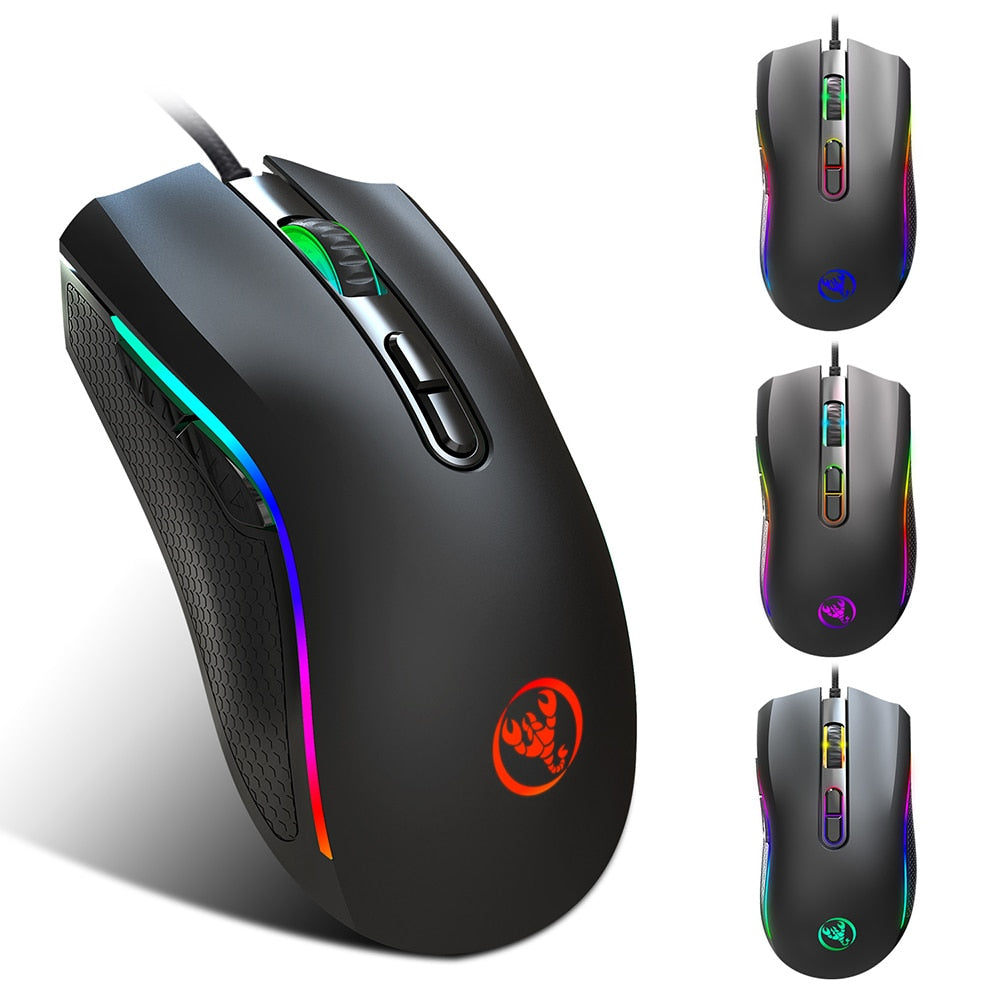 HXSJ 7200DPI 7 Buttons USB Wired Gaming Mouse 7 Color LED Optical Computer Mouse Player Mice Gaming Mouse for PC Computer