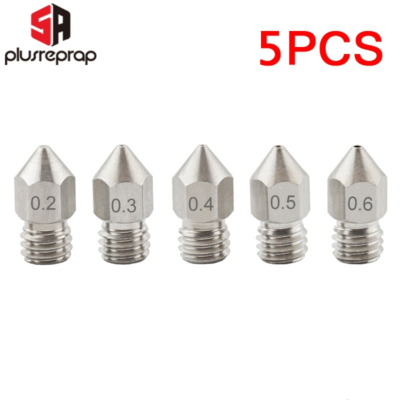 5PCS MK8 Nozzle 0.2mm 0.3mm 0.4mm 0.5mm 0.6mm M6 Threaded Stainless Steel for 1.75mm Filament 3D Printer Extruder Print Head