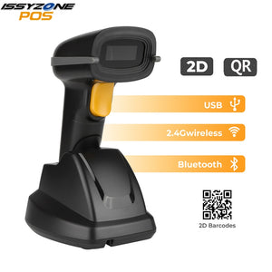 IssyzonePOS Handheld Barcode Scanner 2D QR Code Bluetooth Wireless USB PDF417 LED Bar Code Reader High Speed Scanner With Stand