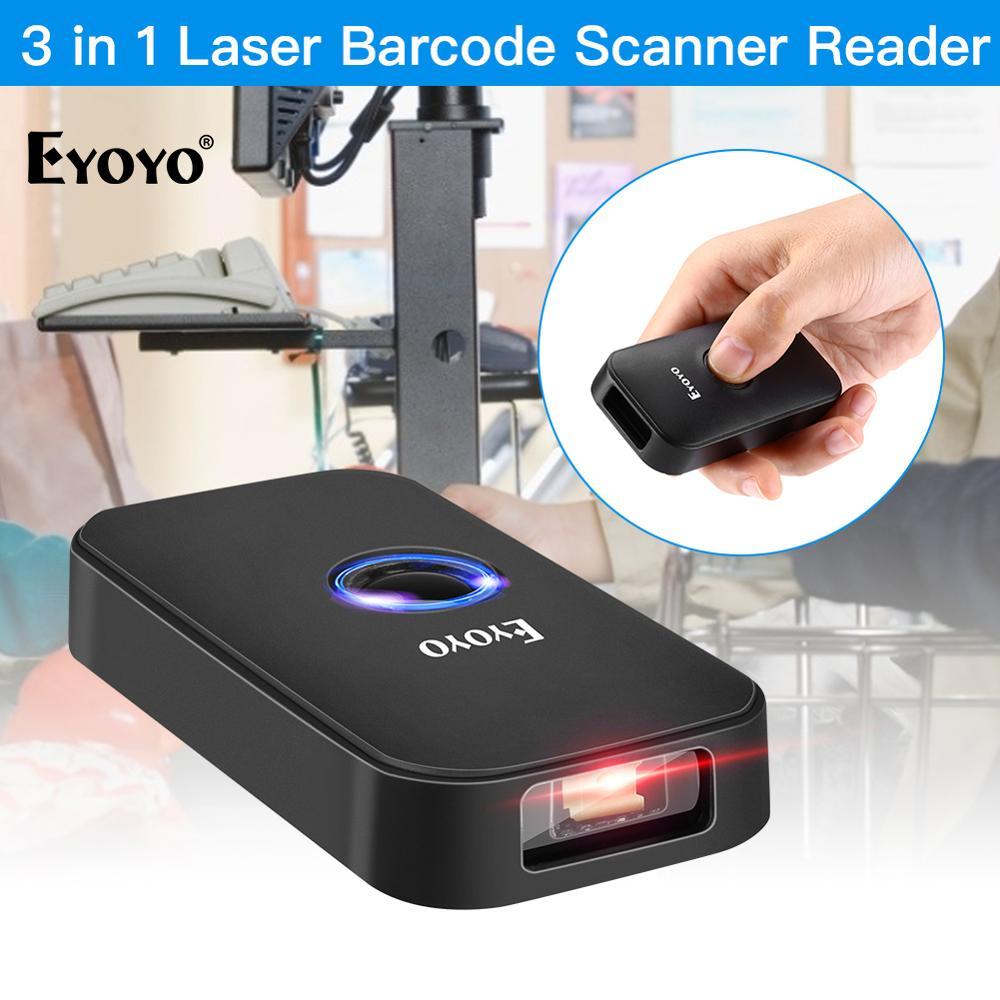 Eyoyo EY-009L 3-in-1 Bluetooth USB Wired&Wireless 1D Barcode Scanner Bar Code Reader for Windows Mac Android iOS Tablet Computer