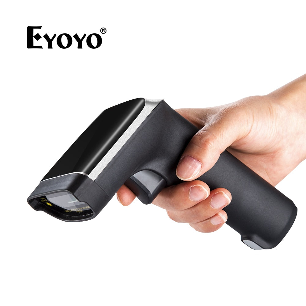 EYOYO EY-007S Wireless 1D Barcode Scanner 3mil UP to 60m Laser Light USB Wired 2.4GHz Wireless 1D Bar Code Reader Scanner