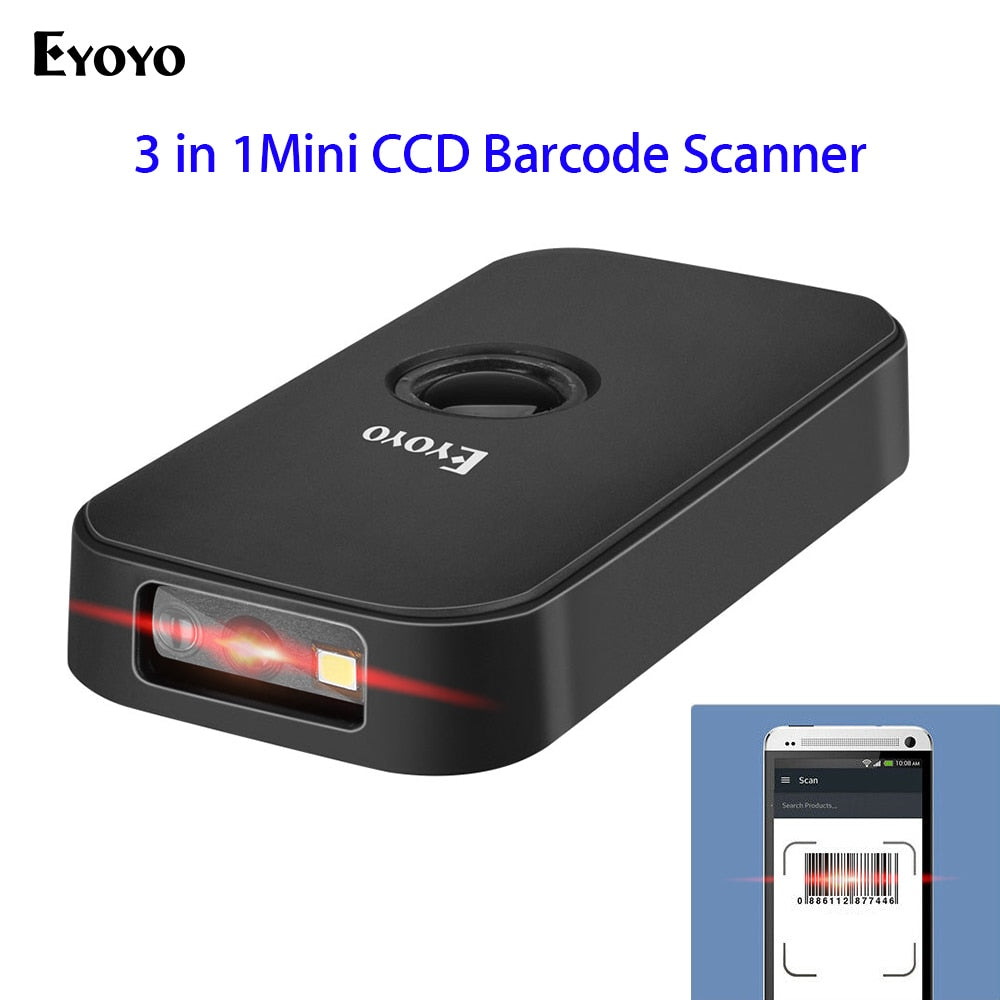 Eyoyo 2.4G CCD Wireless Scanner BT Mode Wired 3-in-1 Connection portable barcode scanner for Android IOS