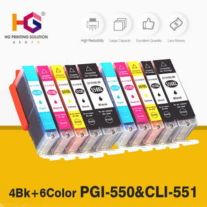 10 pcs Compatible 550 551 XL Ink Cartridge Replacement for Canon PGI-550XL PGI550 PGI 550 CLI551 for PIXMA IP7250 MG5450