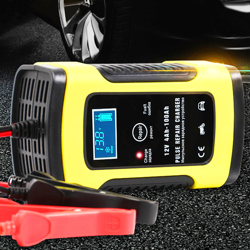 Motorcycle Car Battery Charger 110V to 220V To 12V 6A Intelligent Automatic Fast Power Charging Wet Dry Lead Acid LCD Display