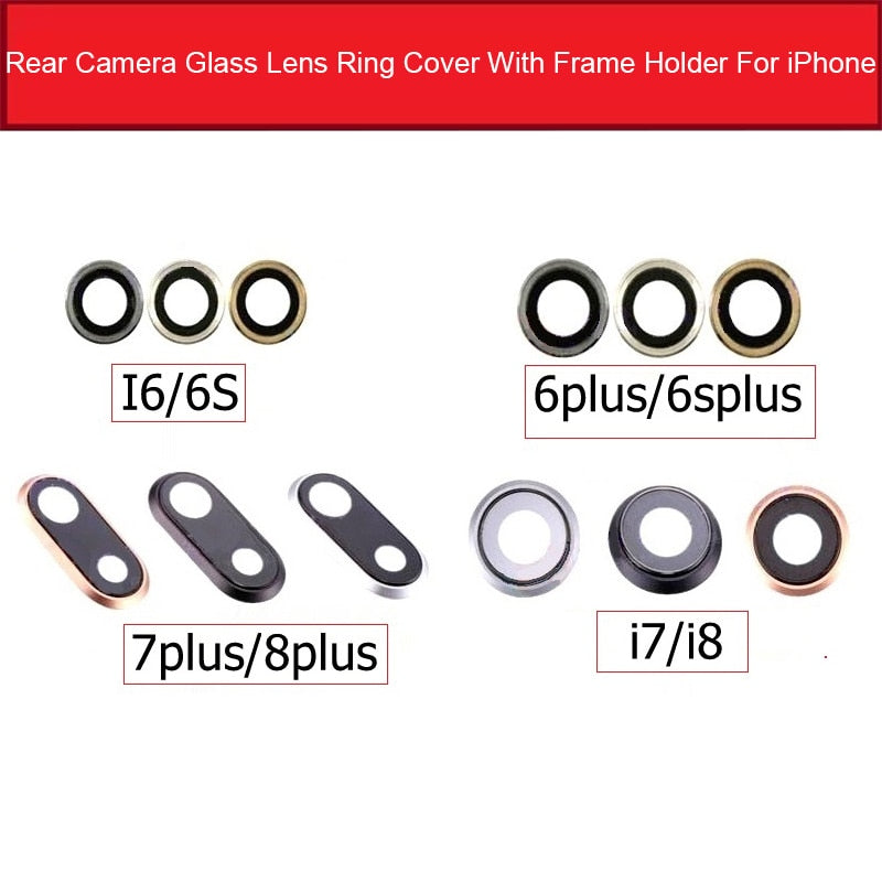Back Rear Camera Glass Lens Ring Cover With Frame Holder For iPhone 6 6S 7 8 Plus Camera Glass Lens + Frame Replacement Parts