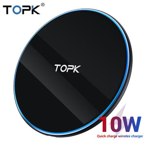 TOPK B02W 10W Wireless Charger LED Portable Universal Phone Charger for  Samsung S10 S9 S8 Xiaomi Mi9