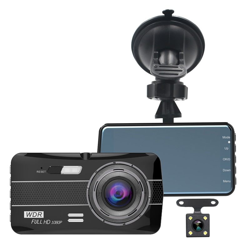NEW Dual Dash Cam 1080P Car Driving Camera Recorder DVR Full HD 4 Inch LCD Screen 170°Wide Angle WDR Loop Recording Motion Detec