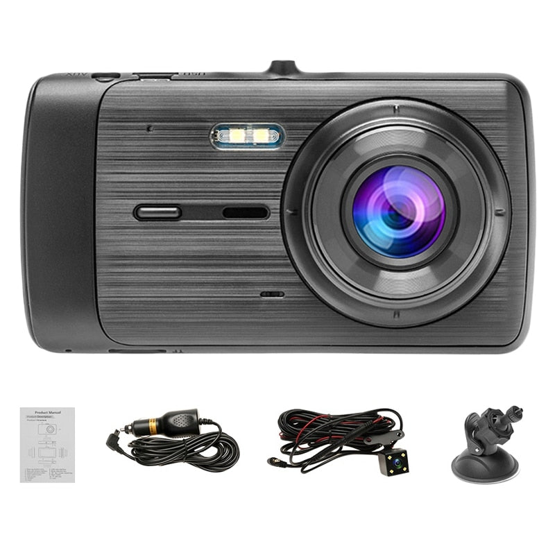 4Inch Dash Cam HD 1080P Car DVR Vehicle Camera 170° Wide Dual Lens Video Recorder Dash Cam with Waterproof Reversing Camera Driv
