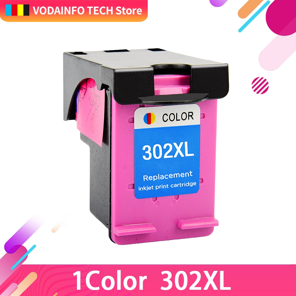 QSYRAINBOW Re-Manufactured 302XL Cartridge Replacement for HP 302 HP302 XL Ink Cartridge for Deskjet 1110 1111 1112 2130 2131