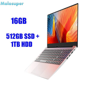 molosuper 15.6 inch Core I7 notebook laptop 16GB/8GB RAM 512GB SSD + 1TB HDD IPS FHD screen metal windows 10 gaming computer