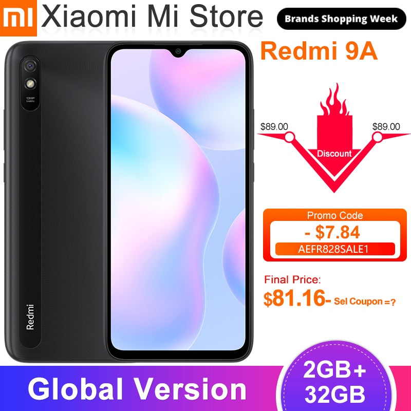 "New Global Version Xiaomi Redmi 9A Mobile Phone 2GB 32GB MTK Helio G25 Octa Core 6.53"" 5000mAh 13MP Rear Camera Smartphone"