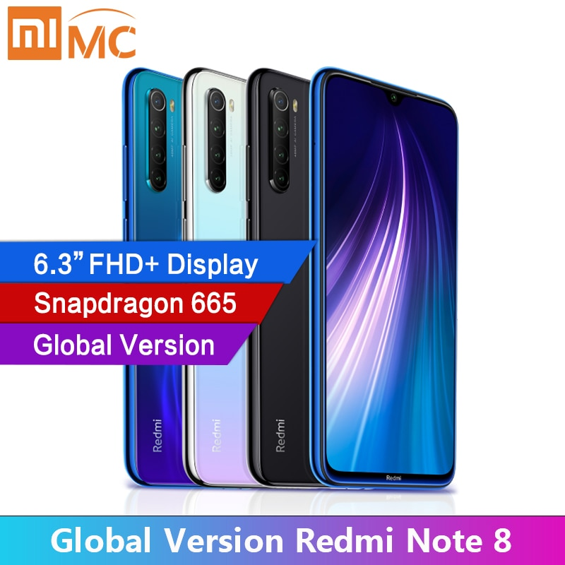 "Global Version Xiaomi Redmi Note 8 4GB RAM Cellphone 48MP Quad Cameras 6.3"" FHD Screen Snapdragon665 MobilePhone 4000mAh"