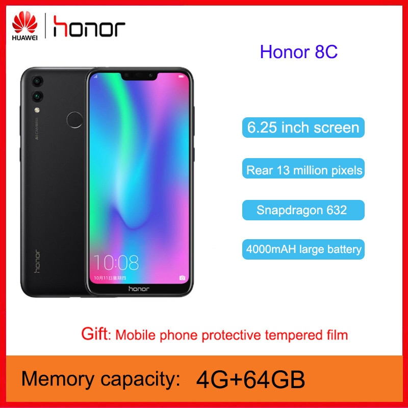 Huawei Honor 8C Phone Face unlock Eye Protection 6.26 inch Snapdragon 632 octa core Full Screen Dual SIM Dual