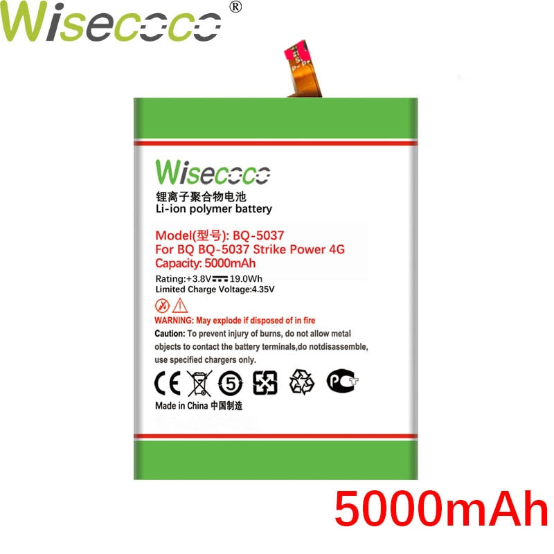 Wisecoco BQS5037 5000mAh Battery For BQ BQS 5037 BQS-5037 Strike Power 4G Phone Built-in Battery Replacement