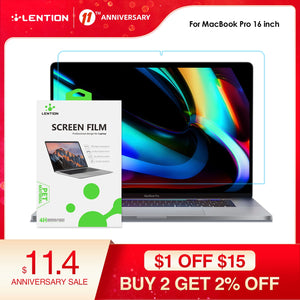 Lention Screen Protector for MacBook Pro 16 inch 2019  Model A2141, HD Clear Film with Hydrophobic Coating Protect macbook pro16