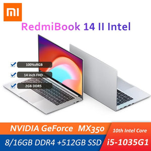 Xiaomi Mi RedmiBook 14 II Laptop 14 Inch i5-1035G1 MX350 16G/8G DDR4 512G SSD Office Protable Notebook PC Win10 100%sRGB Wifi6