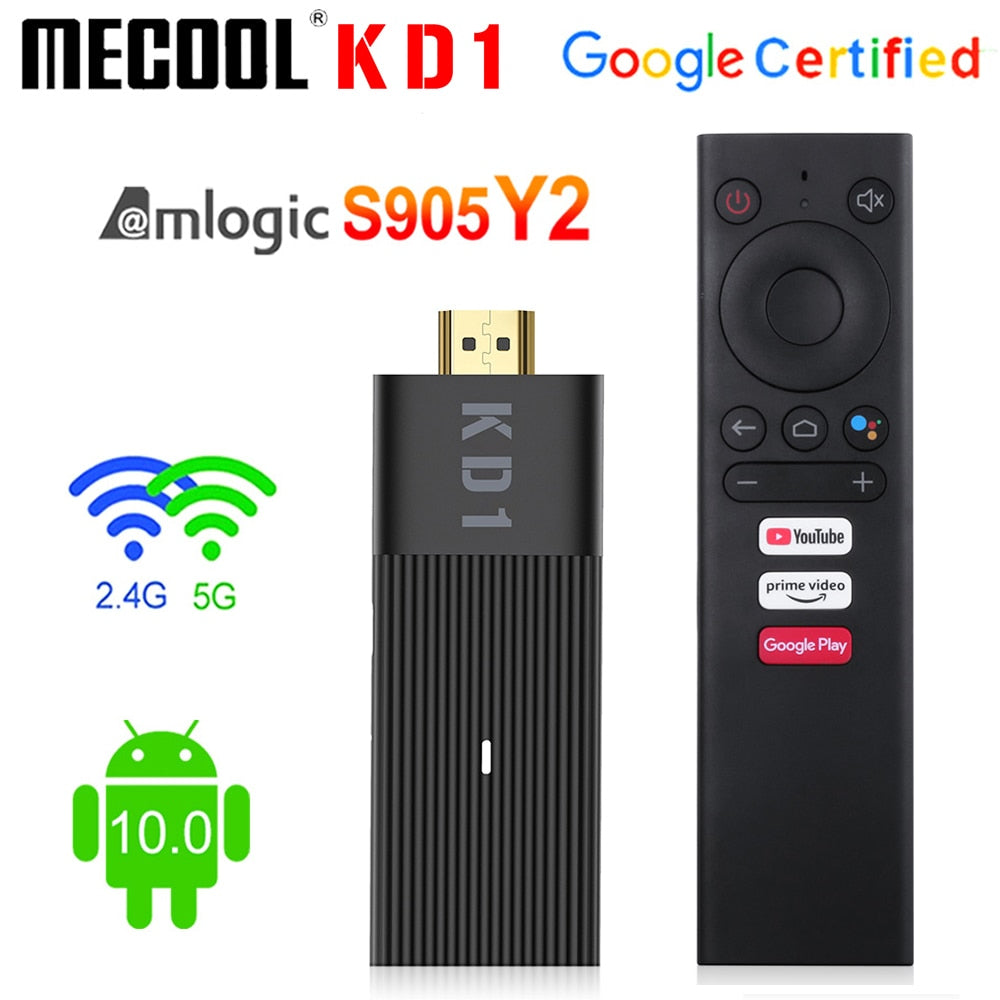 Global Mecool KD1 Smart TV Stick Amlogic S905Y2 TV Box Android 10 2GB 16GB  Google Certified 1080P 4K 2.4G&5G Wifi BT TV Dongle