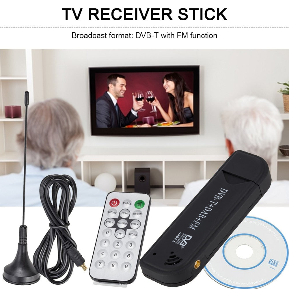 USB 2.0 Digital TV Stick DVB-T DAB FM Antenna Receiver Mini SDR Video Dongle for Household Television Playing Decoration