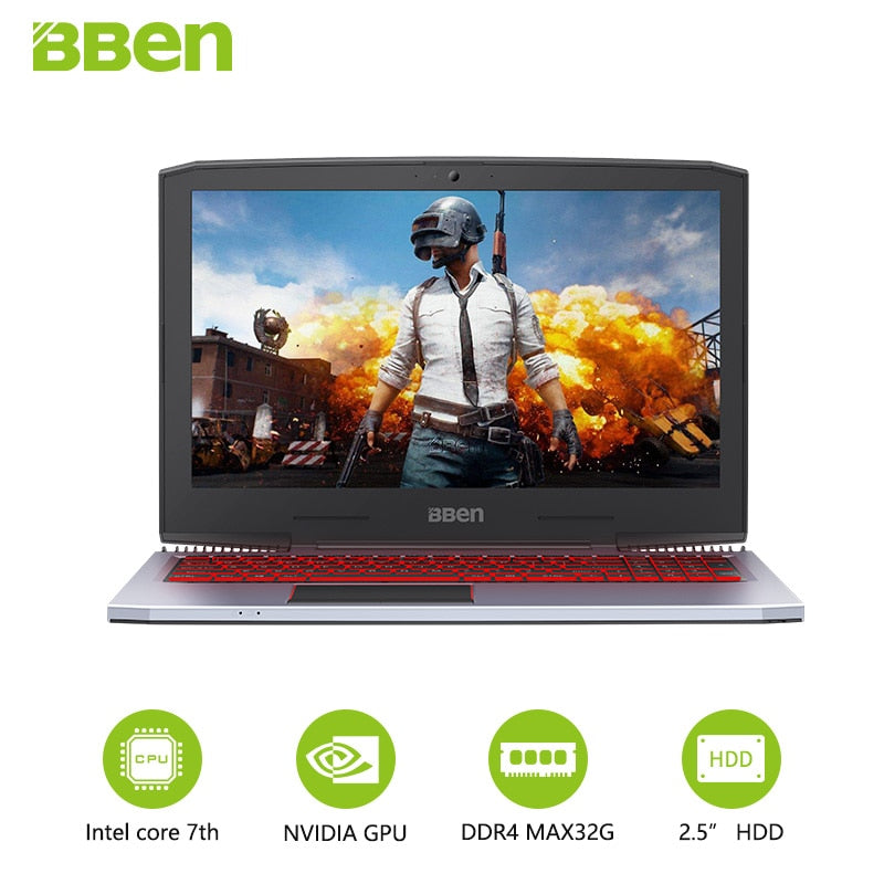 "BBEN G16 15.6"" GTX1060 Intel Core i7 7700HQ Gaming Laptops DDR4 8G/16G/32G RAM 256G/512G SSD,1TB/2TB HDD Pro Windows10 computers"