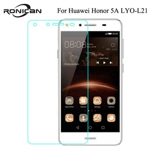 RONICAN For Huawei Honor 5A LYO-L21 Case Russia Version 5.0 inch Tempered Glass Screen Protector 2.5D 9H Safety Protective Film