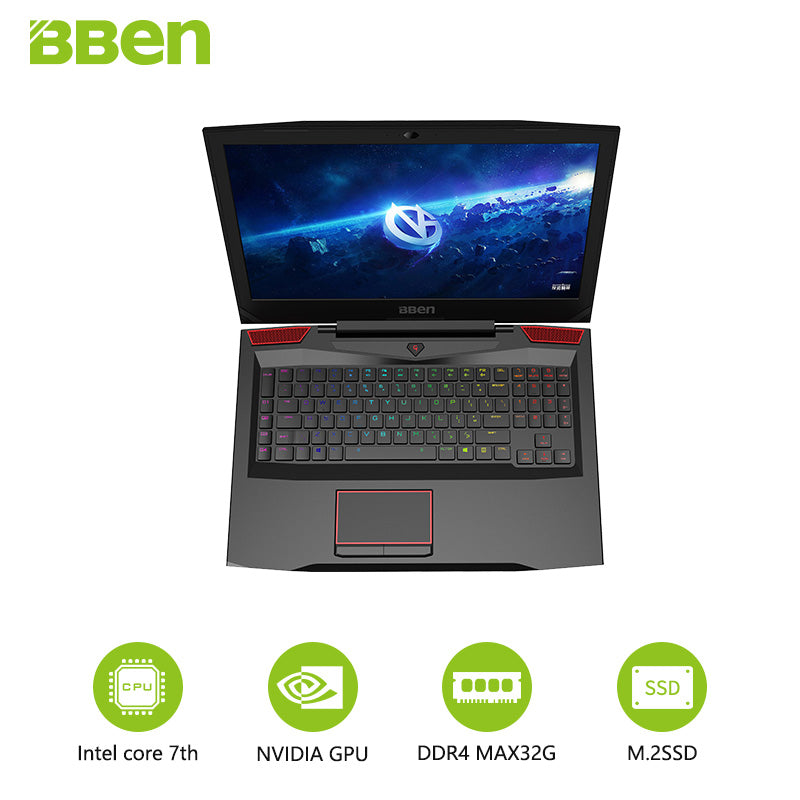 "Bben Gaming G17 Laptop Notebook 17.3"" FHD IPS Screen i7-7700HQ Quad Core Processor GTX1060 6G Dedicated Card"