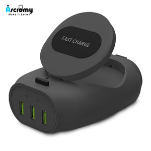 Ascromy 3 USB Fast QI Wireless Charger Stand For Apple iPhone X 8 Plus Samsung Galaxy S9 S8 Note 8 9 Induction Charging Pad 10 W