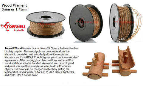Wood 35% real wood fill 3D printer filament 1.75mm Or 3.0mm