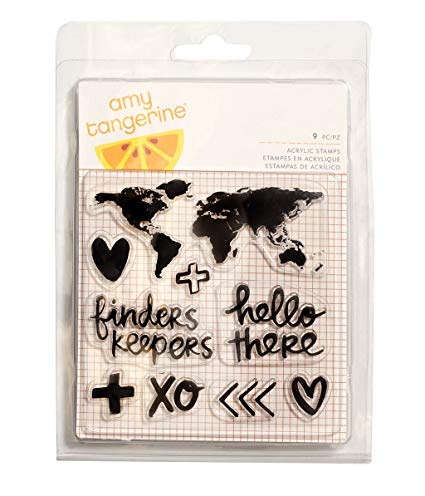 American Crafts - 9 Piece - Amy Tan - Finders Keepers - Acrylic Stamps - Map