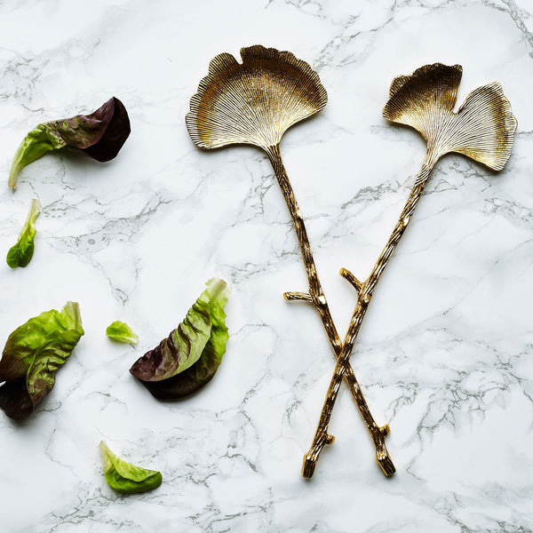 Brass Ginko Salad Servers