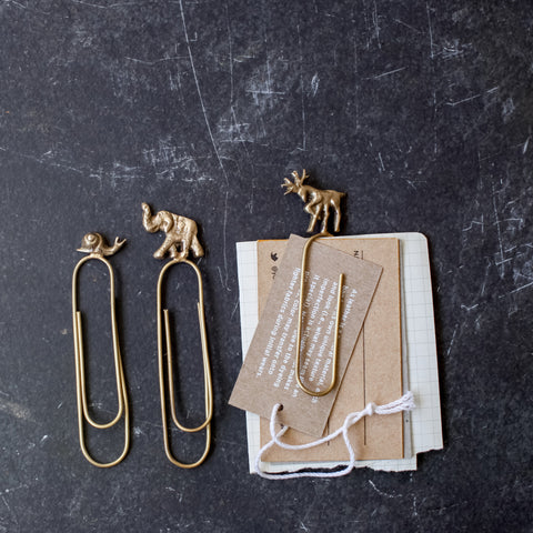 Set of 3 Handmade Brass Animal Paperclips