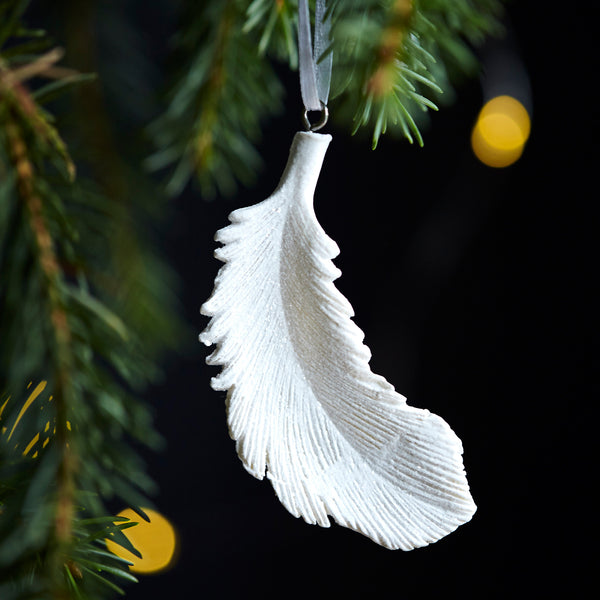 Ten White Hanging Feathers