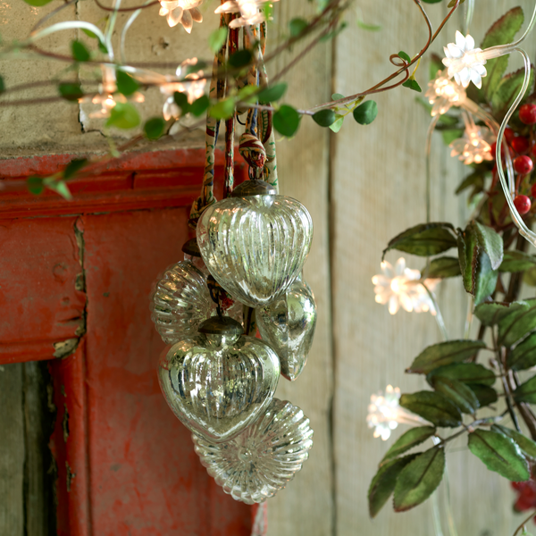 Silver Hanging Glass Hearts