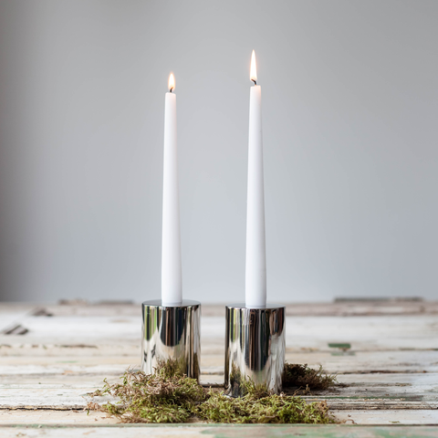 Luxe Round Candle Holder - Silver