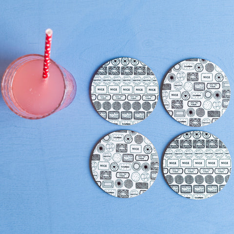 Illustrated Biscuit Coasters - Set of 4