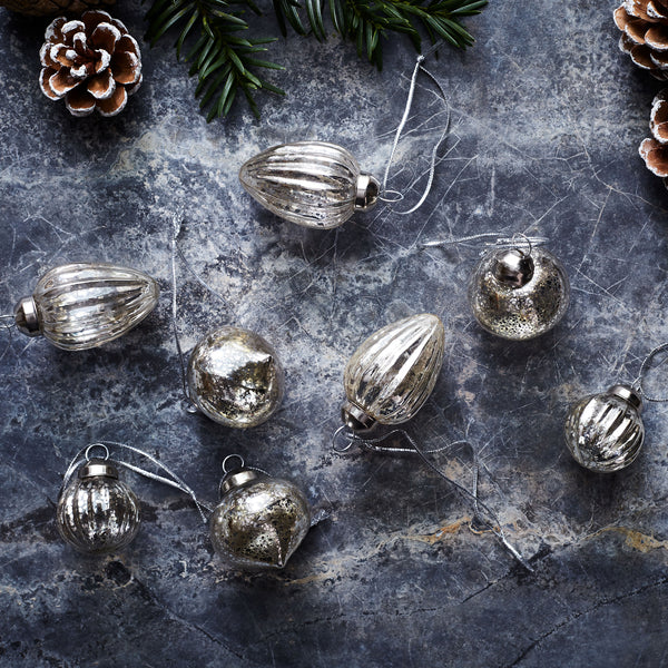 Eight Glass Mottled Baubles