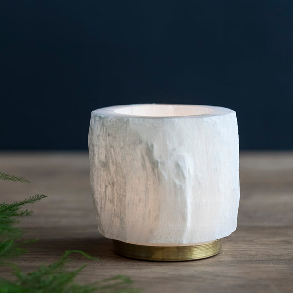 Selenite and Brass Candle Holder