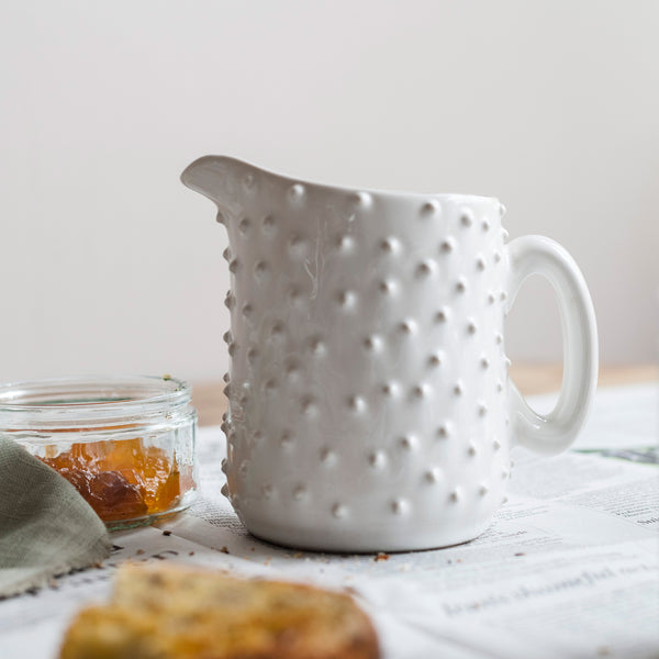 Handmade White Dotted Milk Jug
